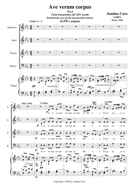 Ave verum corpus no 1 - Choir SATB and organ