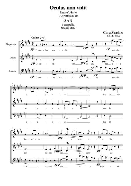 Oculus non vidit - Motet for SAB a cappella