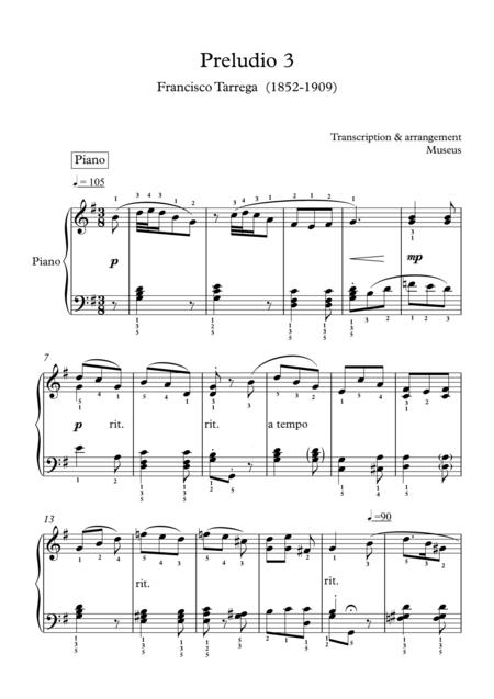 Museus : Preludio 3 & 5 for Piano by F.Tarrega