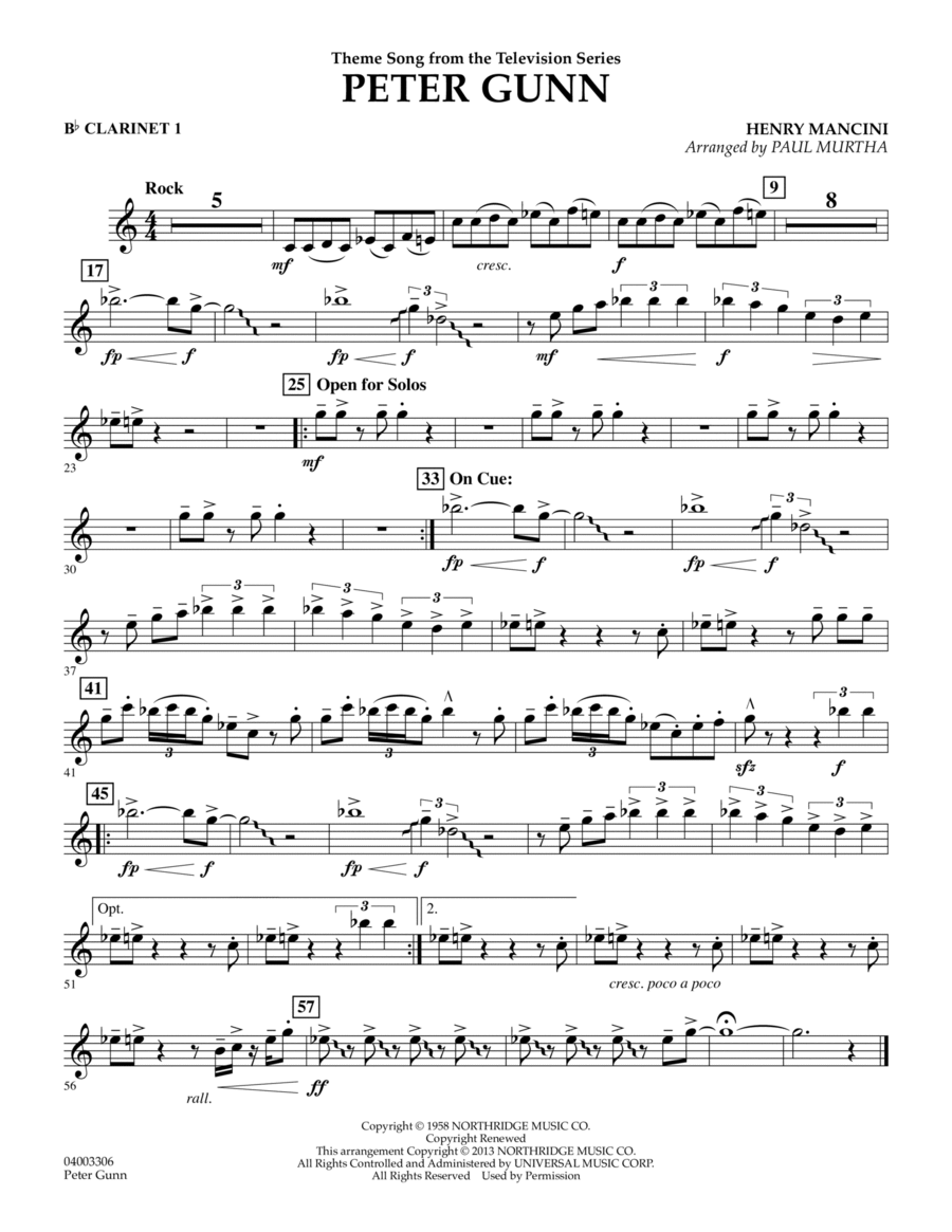 Peter Gunn - Bb Clarinet 1