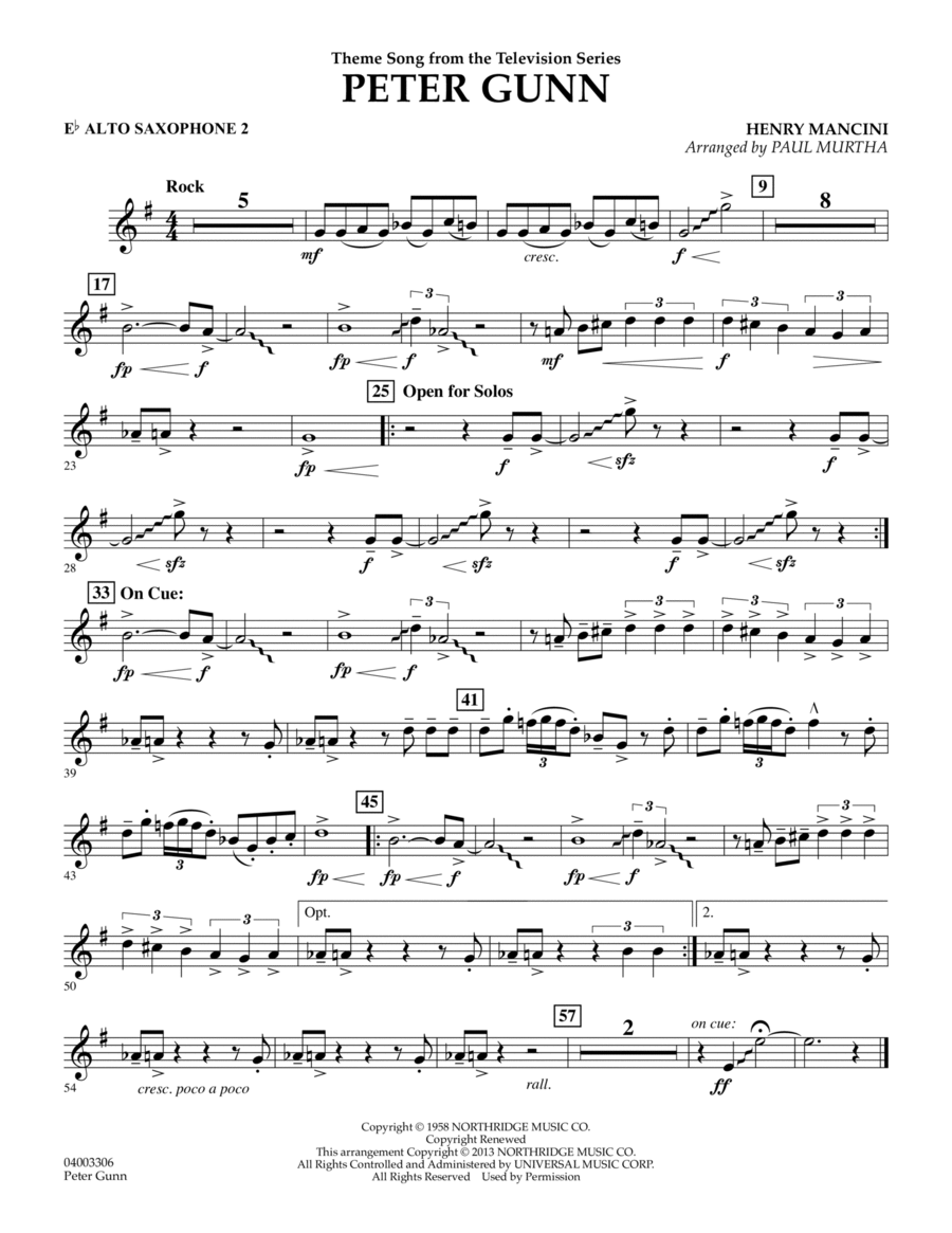 Peter Gunn - Eb Alto Saxophone 2