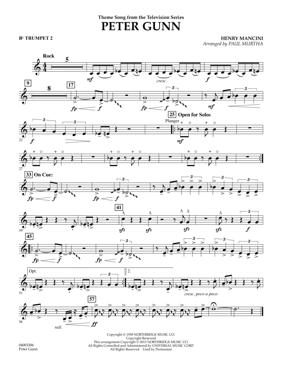 Peter Gunn - Bb Trumpet 2