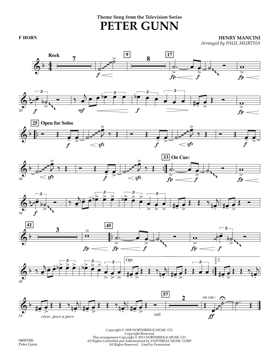 Peter Gunn - F Horn