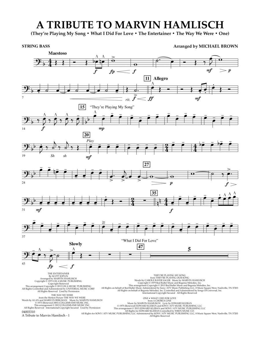 A Tribute To Marvin Hamlisch - String Bass