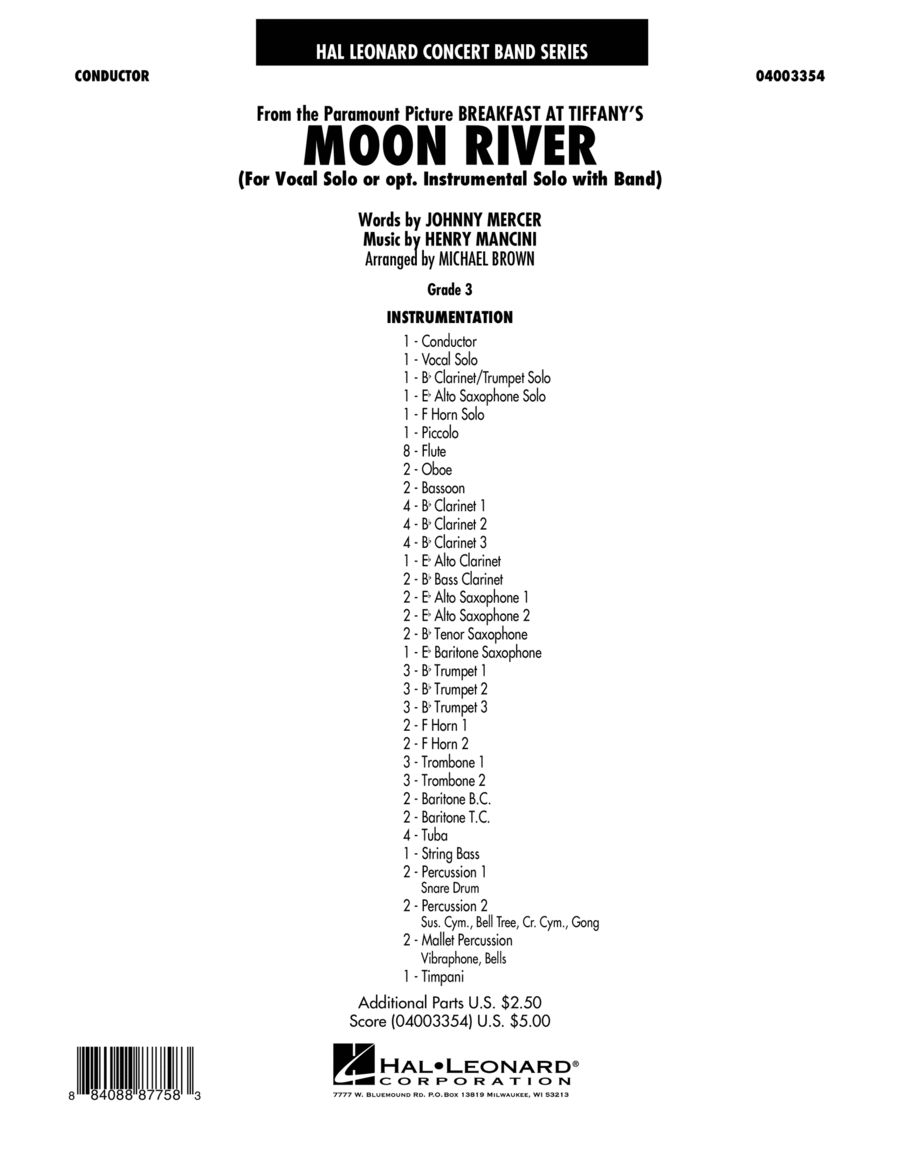 Moon River - Conductor Score (Full Score)