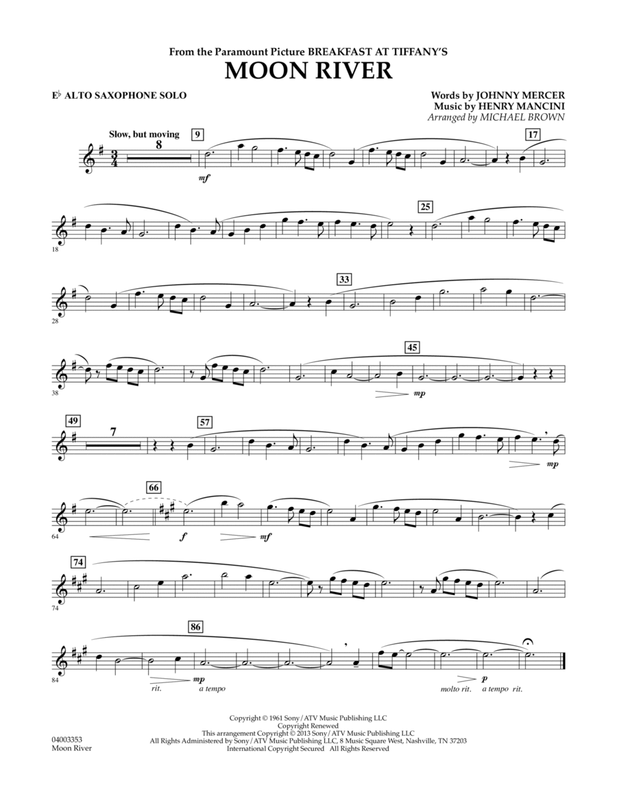 Moon River - Eb Alto Saxophone Solo