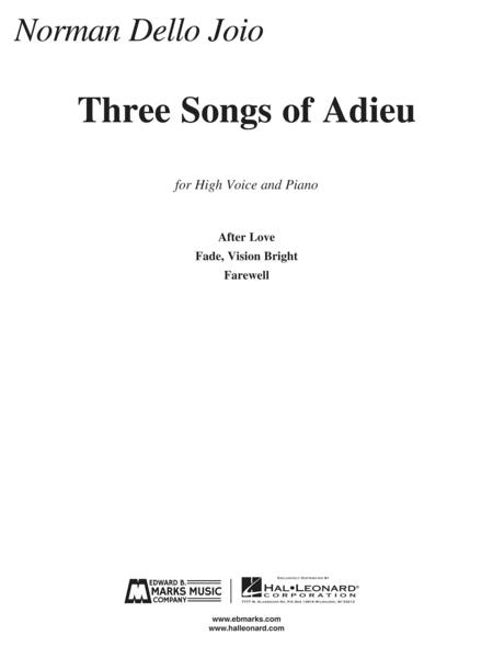 Norman Dello Joio - Three Songs of Adieu