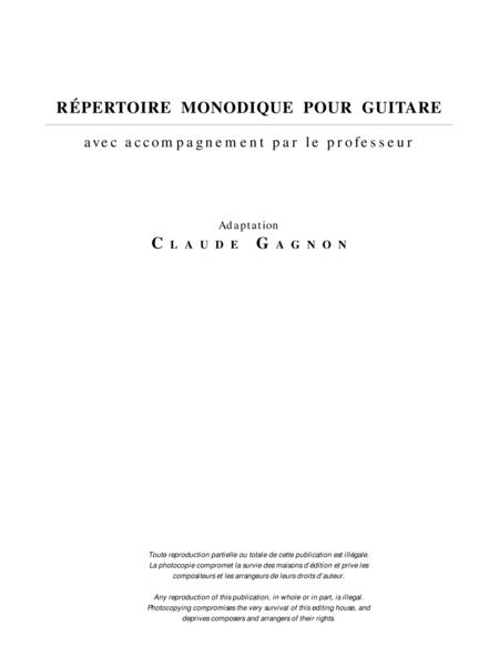 Repertoire monodique pour guitare