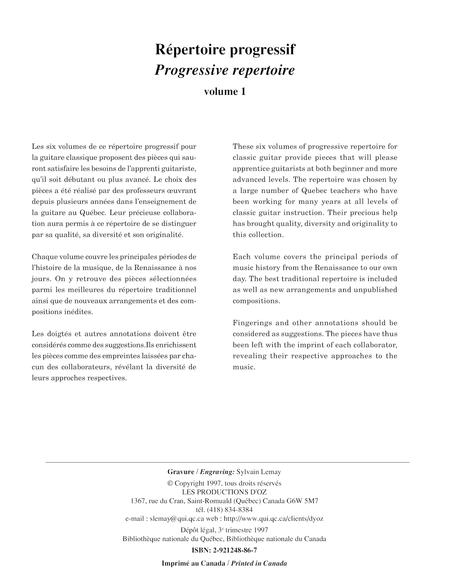 Repertoire progressif pour la guitare, vol. 1