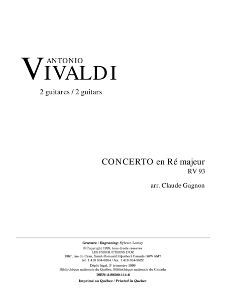 Concerto en Re majeur, RV 93