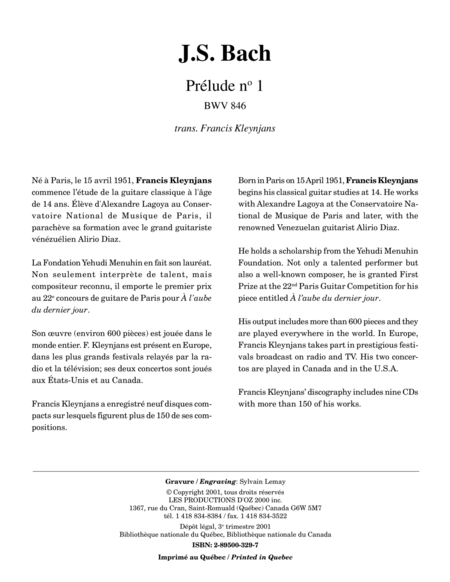 Prelude no 1, BWV 846