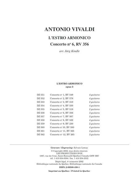 L'Estro Armonico, Concerto no 6, RV 356