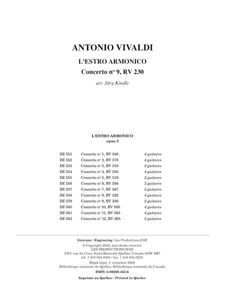 L'Estro Armonico, Concerto no 9, RV 230