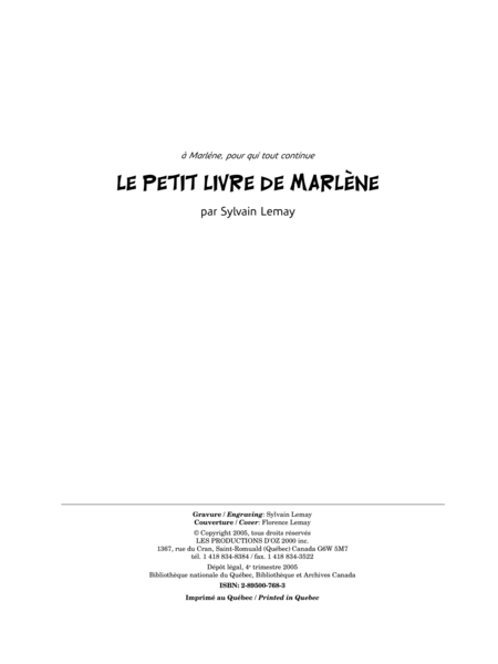 Le petit livre de Marlene