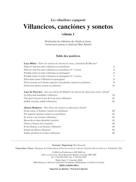 Villancicos, canciones y sonetos, vol. 1
