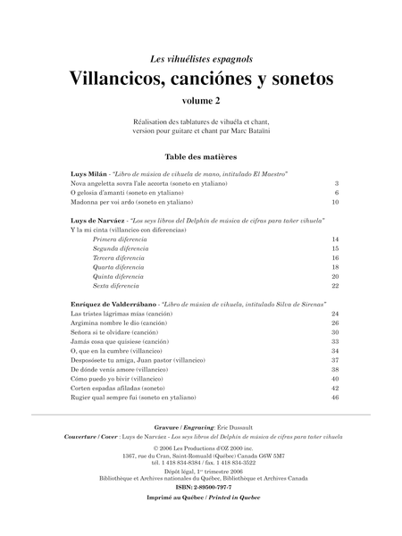 Villancicos, canciones y sonetos, vol. 2