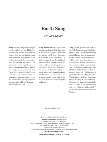 Musique facile pour 4 guitares - Canada (Earth Song)