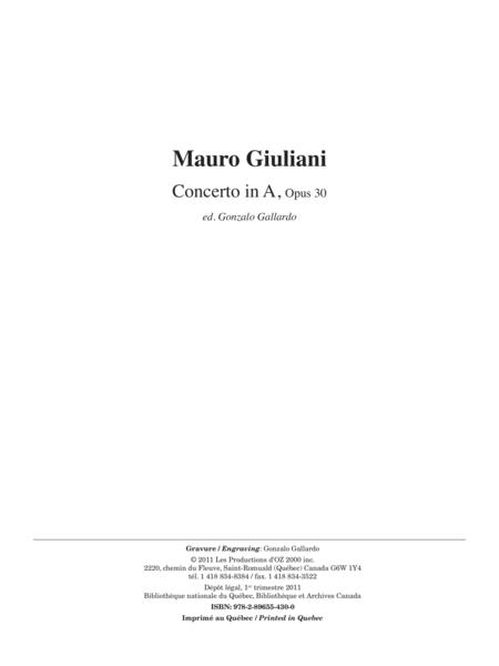 Concerto in A, opus 30 (reduction de piano)