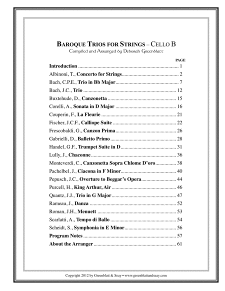 Baroque Trios for Strings - Cello B
