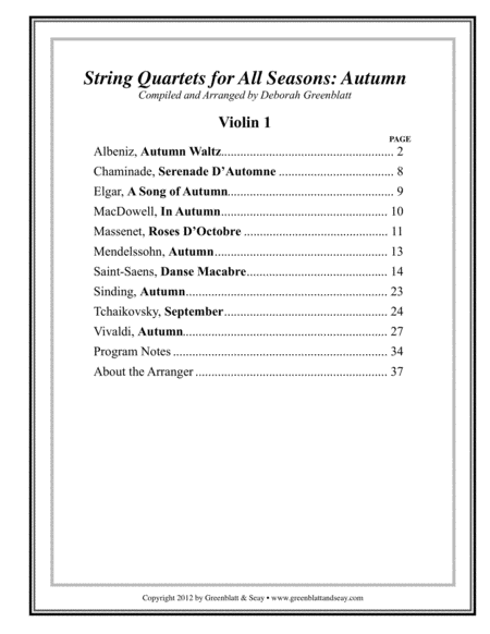 String Quartets for All Seasons: Autumn - Parts