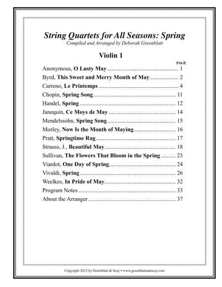 String Quartets for All Seasons: Spring - Parts