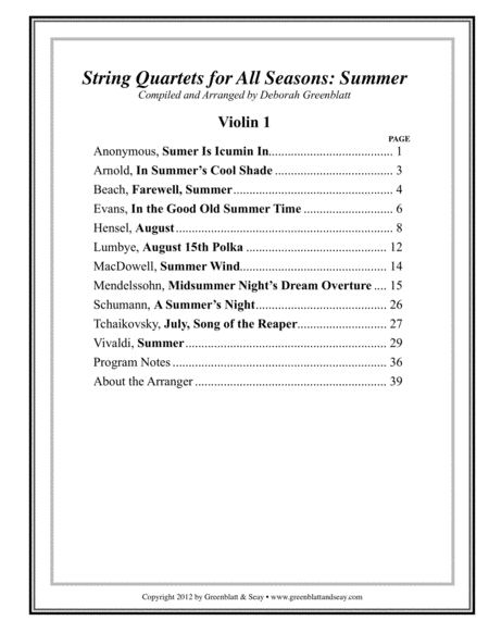 String Quartets for All Seasons: Summer - Parts
