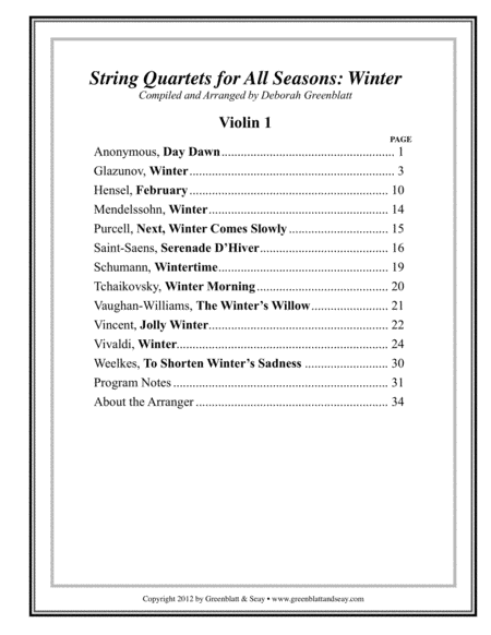 String Quartets for All Seasons: Winter - Parts