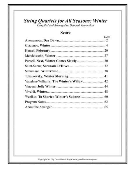 String Quartets for All Seasons: Winter - Score