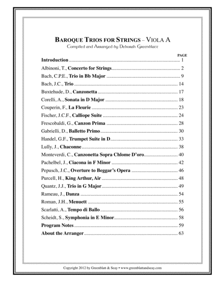 Baroque Trios for Strings - Viola A
