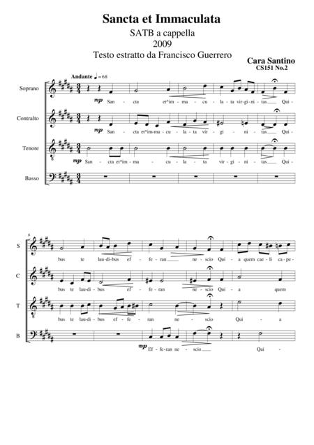 Sancta et Immaculata - SATB a cappella