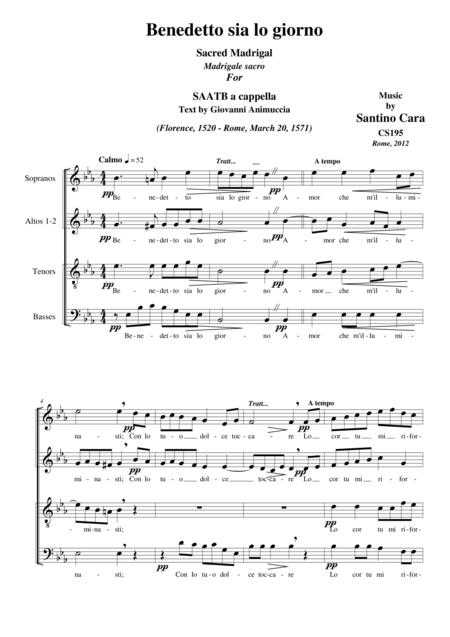 Benedetto sia lo giorno - Sacred madrigal for SAATB a cappella