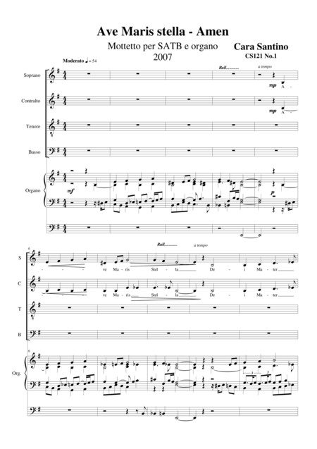 Ave Maris stella-Amen - Motet for Choir SATB and organ