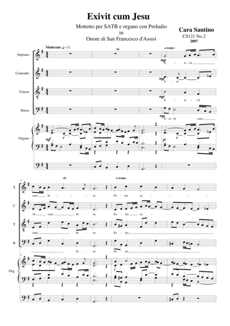 Exivit cum Jesu-Prelude - Motet for Choir SATB-TB and organ