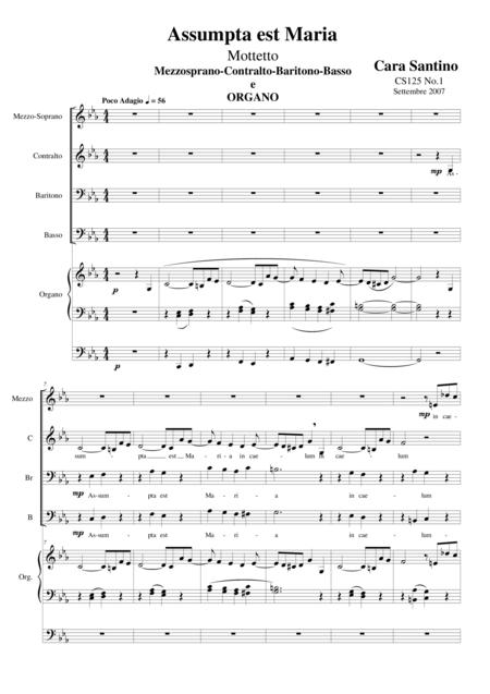 Assumpta est Maria - Motet for Choir MsCBrB and organ