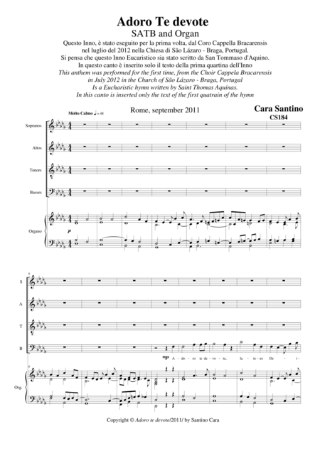 Adoro Te devote - Eucharistic hymn for Choir SATB and organ