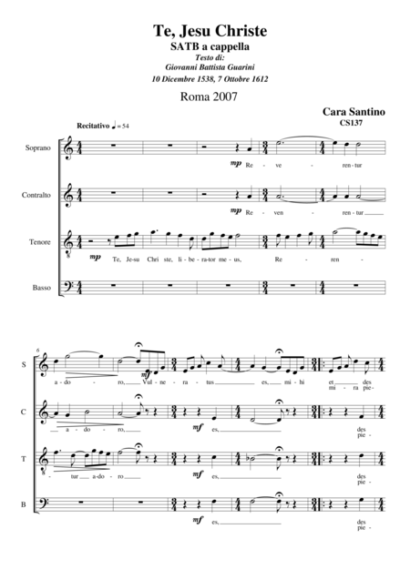 Te,Jesu Christe - Choir SATB a cappella