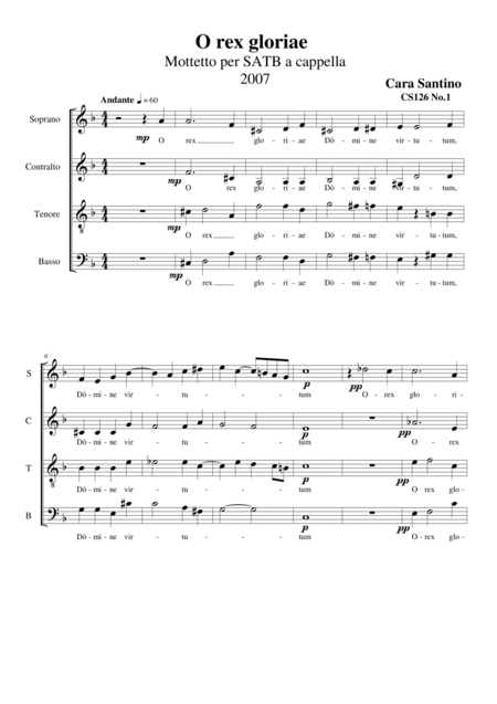 O rex gloriae - Motet for SATB a cappella