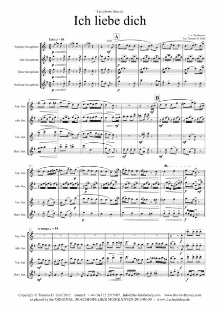 Ich liebe dich - Beethoven - Saxophone Quartet