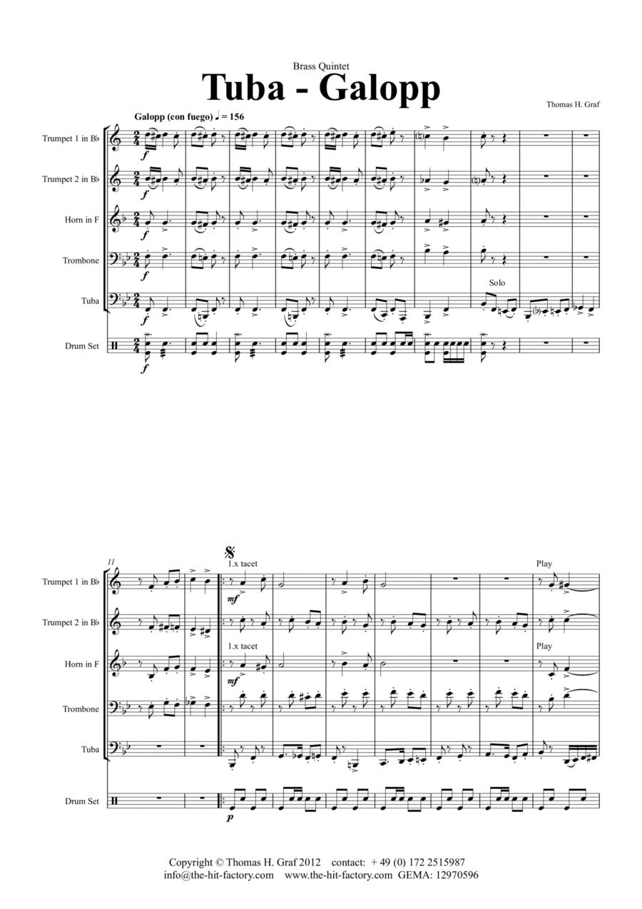 Tuba Galopp  - Octoberfest - Tuba Solo - Fast Polka - Brass Quintet