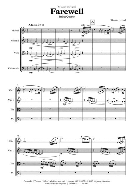 Farewell - Sad Ballad - String Quartet