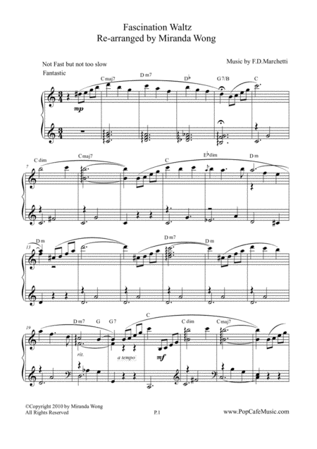 Fascination Waltz - Wedding Piano Solo in C Key