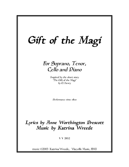 Gift of the Magi-piano score only