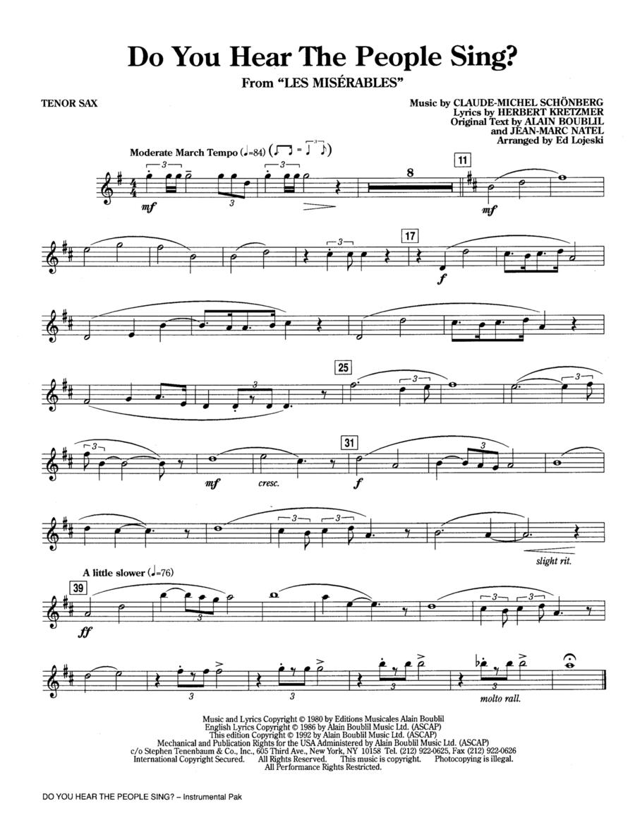 Do You Hear the People Sing? - Tenor Saxophone