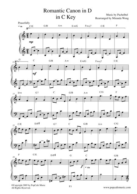 Romantic Canon in D in C Key