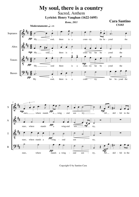 My soul, there is a country - Sacred  Anthem for Choir SATB a cappella