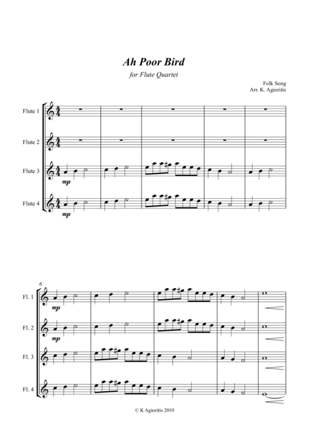 Ah Poor Bird - for Flute Quartet