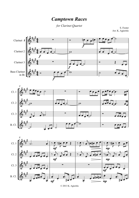 Camptown Races - For Clarinet Quartet