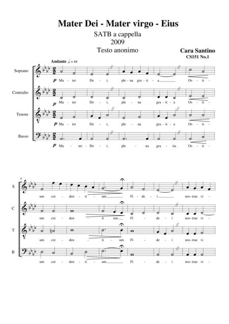 Mater Dei-Mater virgo-Eius - SATB a cappella