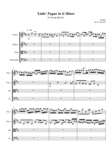 'Little' Fugue in G Minor - For String Quartet