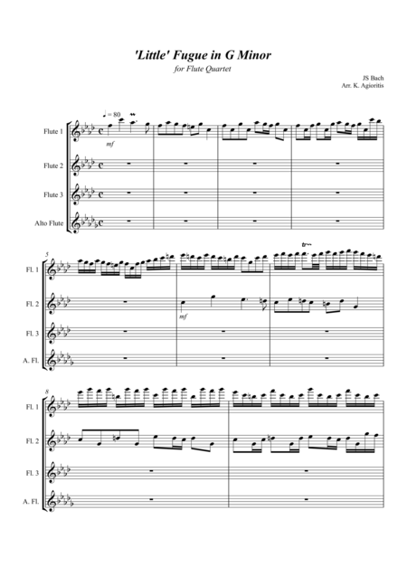 'Little' Fugue in G Minor - For Flute Quartet